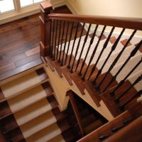 hardwood and carpeted stairs